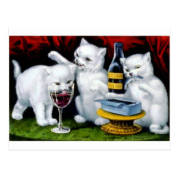 Funny Vintage Cat Party with Wine and Sardines Postcard