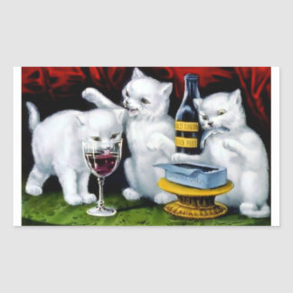 Funny Vintage Cat Party with Wine and Sardines Rectangular Sticker