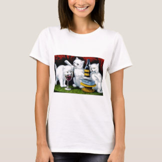 Funny Vintage Cat Party with Wine and Sardines T-Shirt