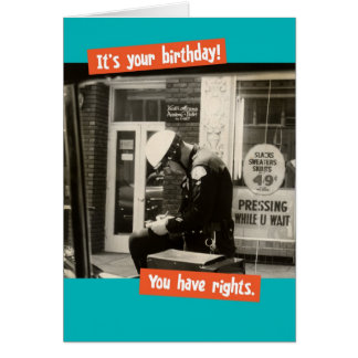 Funny Vintage Cop Writing Birthday Ticket Greeting Card