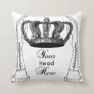 funny vintage coronation crown pillow black,white