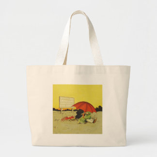 Funny vintage couple large tote bag