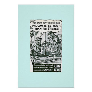 Funny Vintage Dental Care Ad :Pigs & Toothbrushes Poster