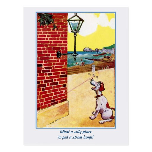 Funny vintage dog and street light postcard