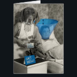 """Funny Vintage Dog Nurse Get Well Card<br><div class=""""desc"""">This is a vintage photo of my mother (the nurse) with a dog&#39;s head. If health care goes to the dogs,  patients could end up with the &quot;cone of shame&quot; as I illustrated here.</div>"""