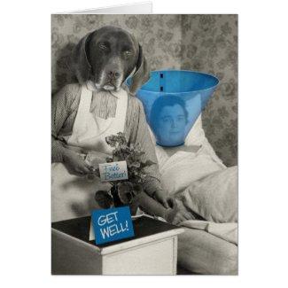 Funny Vintage Dog Nurse Get Well Card