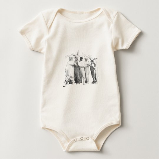 Funny Vintage Easter Bunny Gang Baby Bodysuit