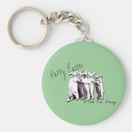 Funny VIntage Easter Bunny Gang Keychain