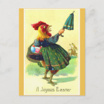 Funny Vintage Easter Rooster in a Dress Postcard