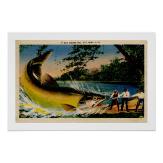 Funny vintage exaggerated fishing poster
