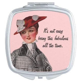 Funny Vintage Fabulous Woman Makeup Mirror