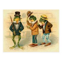 Funny Vintage Frogs Postcard