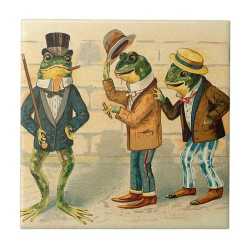 Funny Vintage Frogs Small Square Tile
