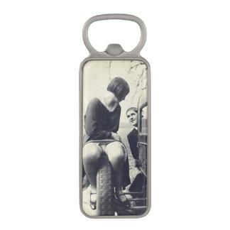 Funny Vintage Girl on Tire Magnetic Bottle Opener