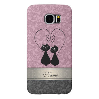 Funny vintage girly  trendy damask cats personal samsung galaxy s6 case