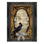Funny vintage Gothic steampunk crow Postcard