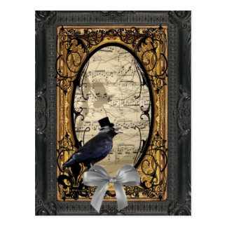 Funny vintage Gothic steampunk crow Postcard