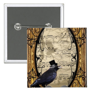 Funny vintage Gothic wedding crow Buttons