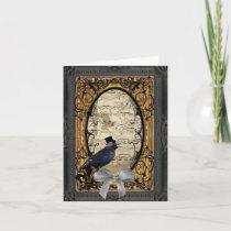 Funny vintage Gothic wedding crow Card