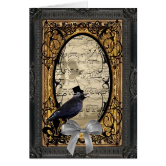Funny vintage Gothic wedding crow Stationery Note Card