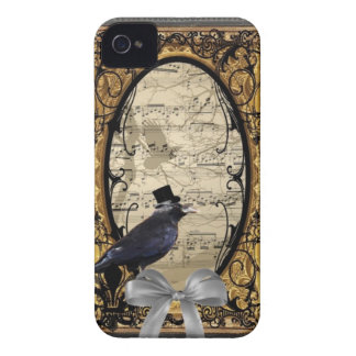 Funny vintage Gothic wedding crow Case-Mate iPhone 4 Case