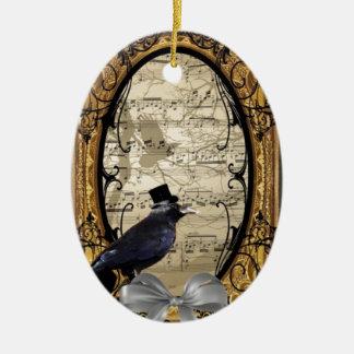 Funny vintage Gothic wedding crow Ceramic Ornament