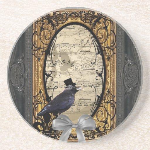 Funny vintage Gothic wedding crow Coasters