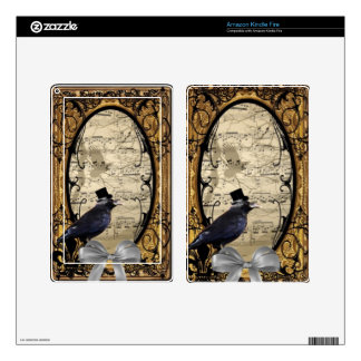 Funny vintage Gothic wedding crow Decals For Kindle Fire