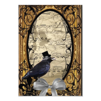 Funny vintage Gothic wedding crow 3.5x5 Paper Invitation Card