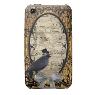 Funny vintage Gothic wedding crow iPhone 3 Case-Mate Case