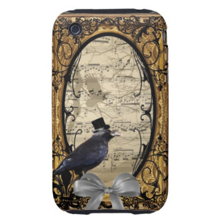 Funny vintage Gothic wedding crow iPhone 3 Tough Cover