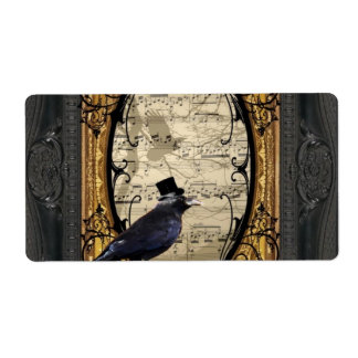 Funny vintage Gothic wedding crow Label