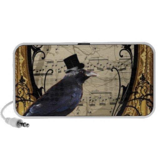 Funny vintage Gothic wedding crow Laptop Speakers