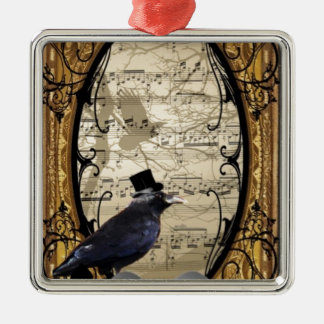 Funny vintage Gothic wedding crow Metal Ornament