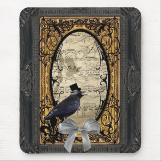 Funny vintage Gothic wedding crow Mousepad