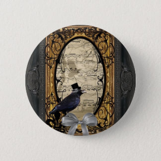 Funny vintage Gothic wedding crow Pinback Button