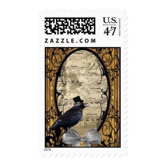 Funny vintage Gothic wedding crow Postage