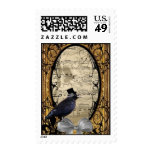 Funny vintage Gothic wedding crow Postage Stamps