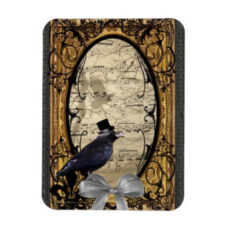 Funny vintage Gothic wedding crow Flexible Magnet