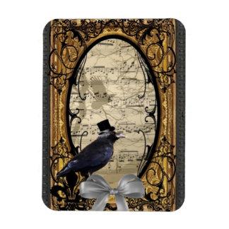 Funny vintage Gothic wedding crow Rectangular Photo Magnet