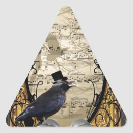 Funny vintage Gothic wedding crow Triangle Sticker