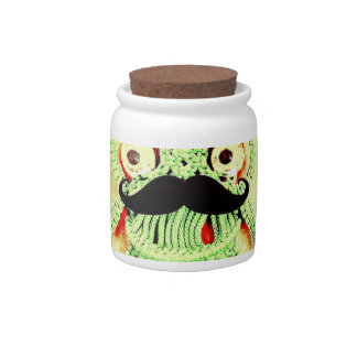 Funny Vintage Green Frog Moustache I'm All Tied Up Candy Jars