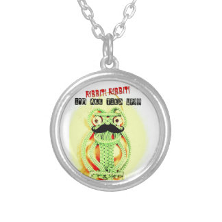 Funny Vintage Green Frog Moustache I'm All Tied Up Necklace