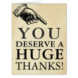 Funny Vintage Hand Giant Thank You Card