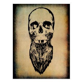 Funny Vintage Hillbilly Skull with Long Beard Postcard