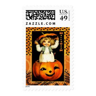Funny Vintage Kid Halloween Postage Stamps