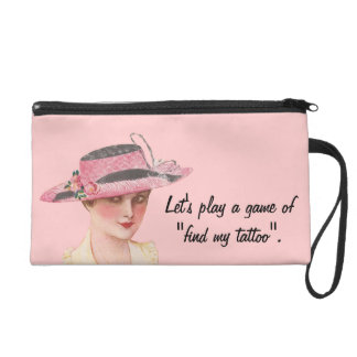 Funny Vintage Let's Play A Game Wristlet Clutches
