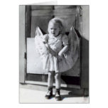 Funny vintage little girl Thinking of you card. Card