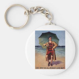 funny vintage man sea bathing suit umbrella poster basic round button keychain