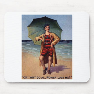 funny vintage man sea bathing suit umbrella poster mouse pad